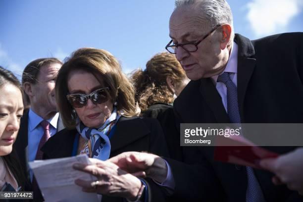House Minority Leader Nancy Pelosi a Democrat from California left speaks with Senate Minority Leader Chuck Schumer a Democrat from New York outside...