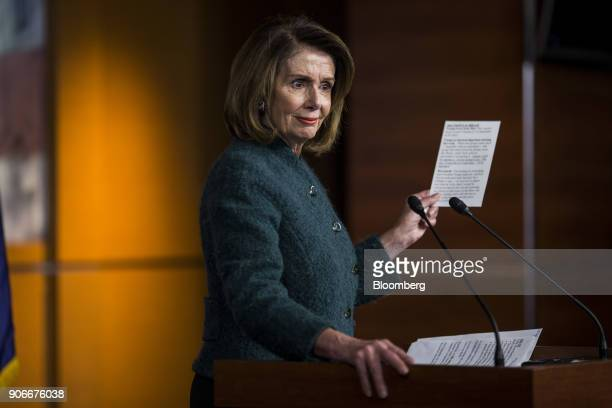 House Minority Leader Nancy Pelosi a Democrat from California pauses while speaking during a news conference on Capitol Hill in Washington DC US on...