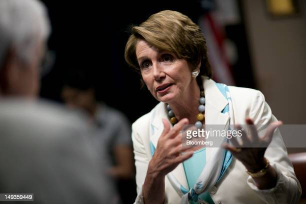 House Minority Leader Nancy Pelosi a Democrat from California speaks during an interview with Bloomberg News executive editor Al Hunt on Capitol Hill...