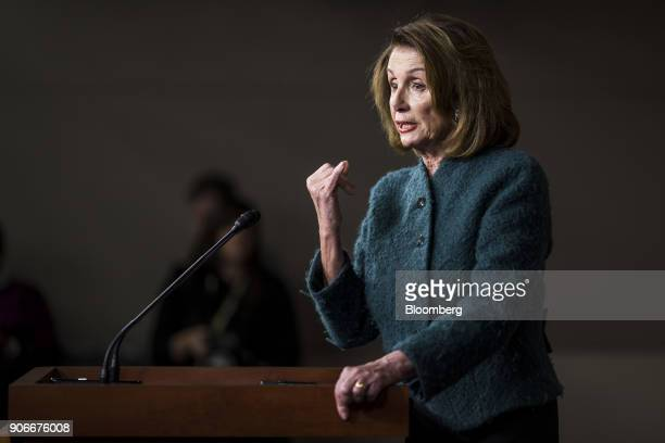 House Minority Leader Nancy Pelosi a Democrat from California speaks during a news conference on Capitol Hill in Washington DC US on Thursday Jan 18...