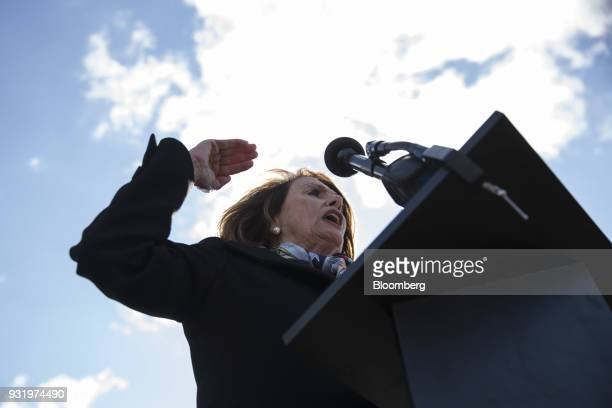 House Minority Leader Nancy Pelosi a Democrat from California speaks to students outside the US Capitol building during the ENOUGH National School...