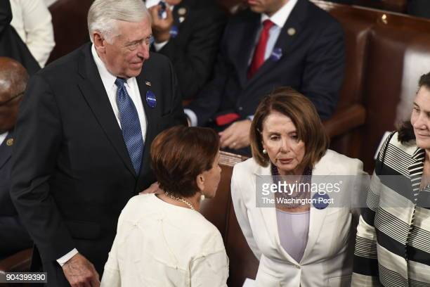 House Minority Leader Nancy Pelosi ahead of President Donald J Trumps first address before a joint session of Congress on Tuesday Feb 28 at the US...