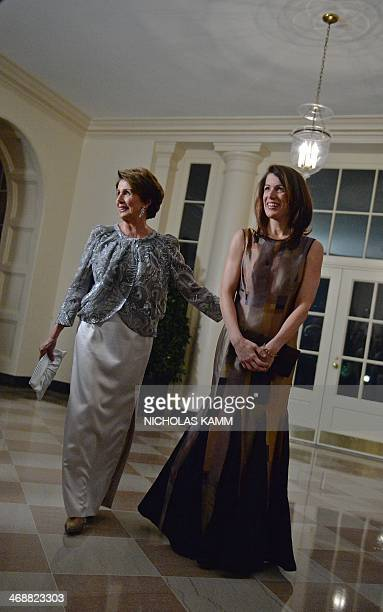 US House Minority Leader Nancy Pelosi and her daughter Jacqueline arrive at the White House in Washington on February 11 2014 for the state dinner in...