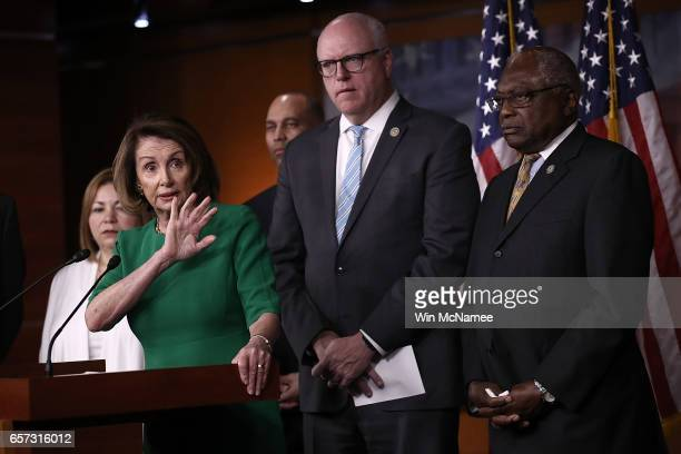 House Minority Leader Nancy Pelosi answers questions at a press conference where House Democratic leaders responded to Republican efforts to repeal...