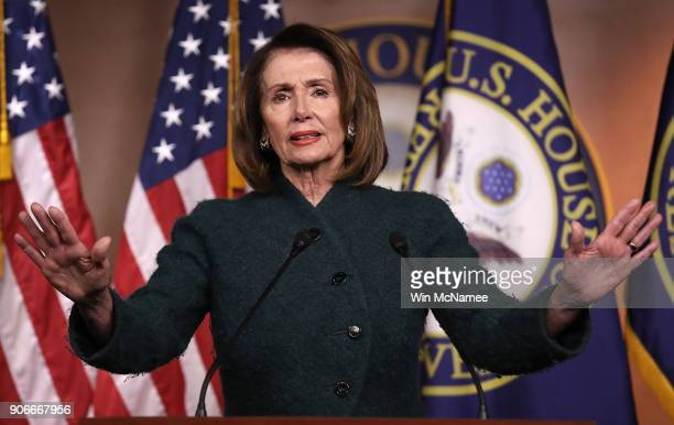 House Minority Leader Nancy Pelosi answers questions on the possibility of a government shutdown at the US Capitol on January 18 2018 in Washington...