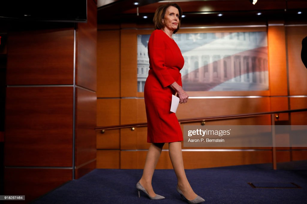 House Minority Leader Nancy Pelosi arrives at a press conference on Capitol Hill on February 14, 2018 in Washington, DC. Pelosi and her fellow Democrats addressed the need for heightened security surrounding the nation's voting systems ahead of the 2018 midterms.