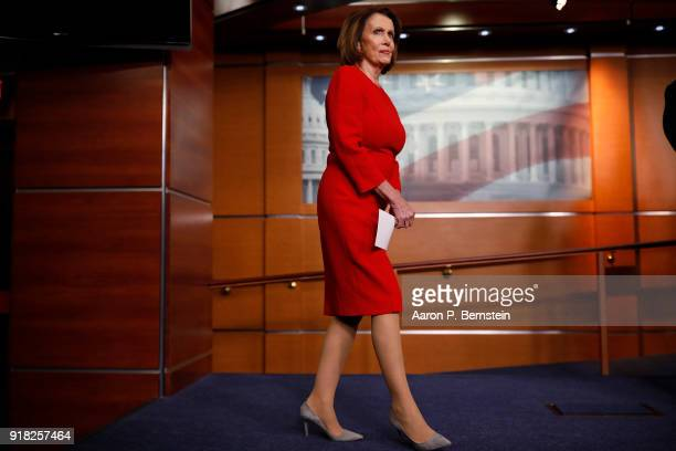 House Minority Leader Nancy Pelosi arrives at a press conference on Capitol Hill on February 14 2018 in Washington DC Pelosi and her fellow Democrats...