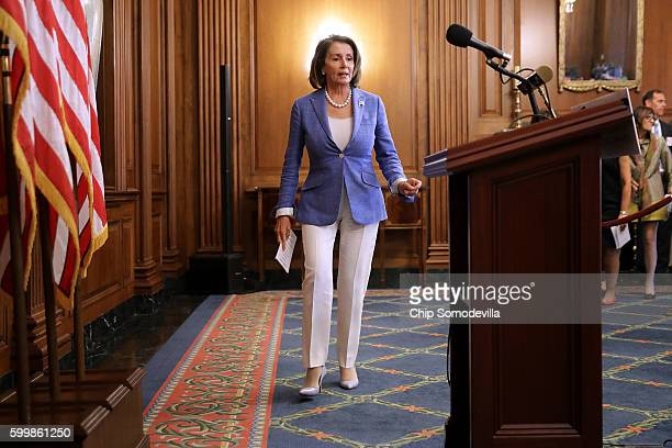 House Minority Leader Nancy Pelosi arrives for a news conference to call on Republicans to fund programs to combat the spread of the Zika virus at...