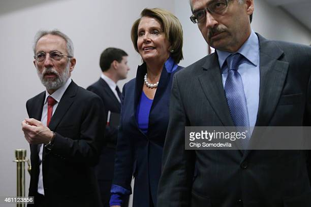 House Minority Leader Nancy Pelosi arrives for the first House Democratic caucus meeting of the 114th Congress in the US Capitol Visitors Center...
