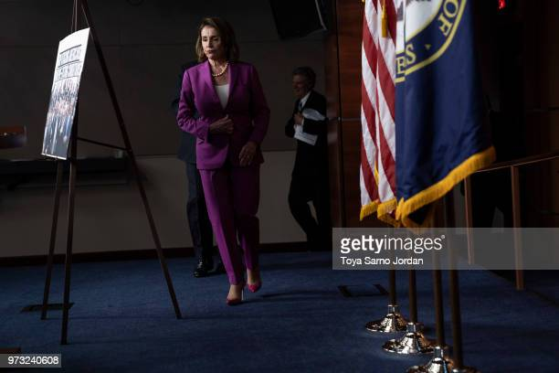 House Minority Leader Nancy Pelosi arrives to a news conference held by House Democrats condemning the Trump Administration's targeting of the...
