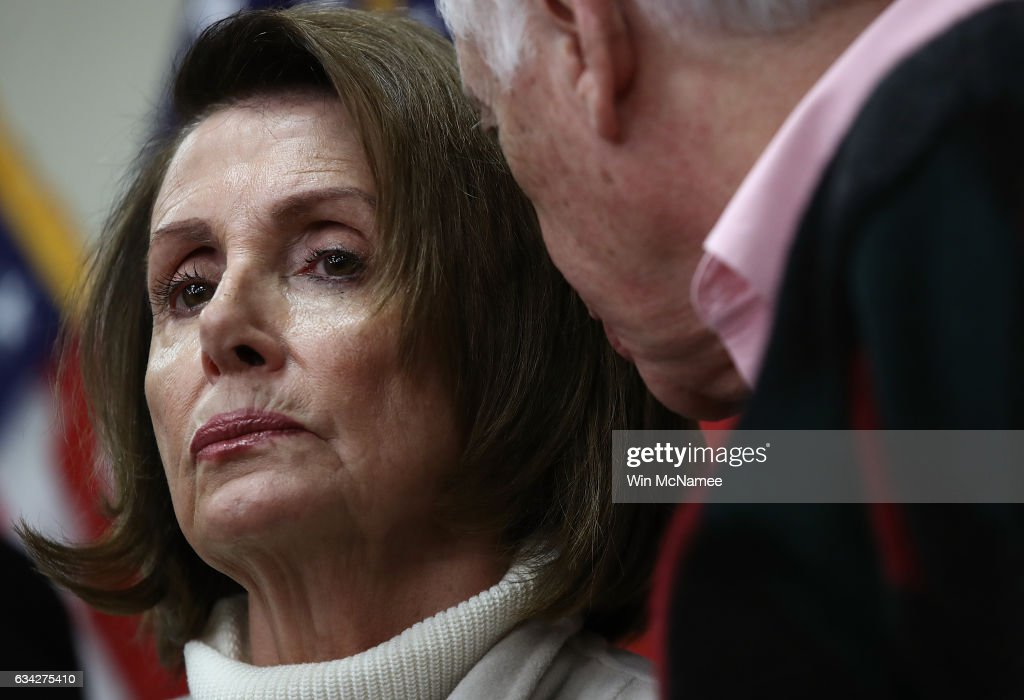 House Minority Leader Nancy Pelosi (D-CA) confers with Rep. Steny Hoyer (R) (D-MD) while attending an opening news conference during the House Democratic caucus 'Issues Conference' on February 8, 2017 in Baltimore, Maryland. During the conference, House Democrats are expected to discuss party strategy for opposing issues promoted by their Republican counterparts and U.S. President Donald Trump.