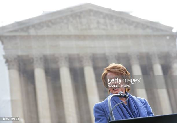 House Minority Leader Nancy Pelosi DCA speaks during a press conference in front of the US Supreme Court on February 27 2013 on Capitol Hill in...