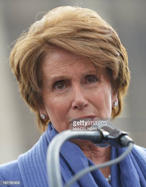 House Minority Leader Nancy Pelosi DCA speaks during a press conference infront of the US Supreme Court on February 27 2013 on Capitol Hill in...