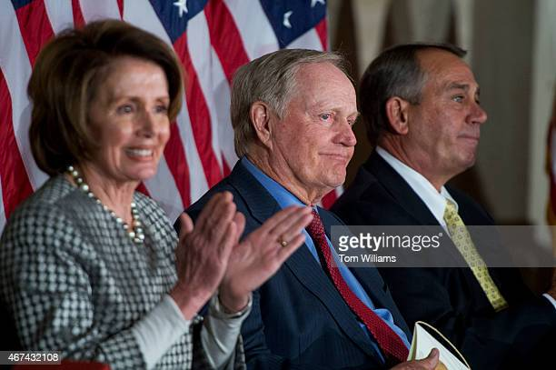 House Minority Leader Nancy Pelosi DCalif golf legend Jack Nicklaus and Speaker John Boehner ROhio attend a Congressional Gold Medal in the Capitol's...