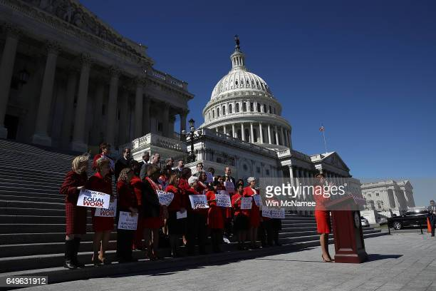 House Minority Leader Nancy Pelosi delivers remarks at a news conference marking International Women's Day and A Day Without a Woman March 8 2017 at...