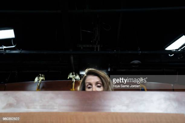 House Minority Leader Nancy Pelosi delivers remarks during her weekly press conference at the Capitol on June 21 2018 in Washington DC