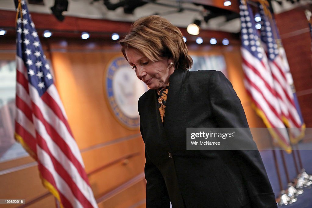 House Minority Leader Nancy Pelosi (D-CA) departs her weekly press conference at the U.S. Capitol on March 19, 2015 in Washington, DC. Pelosi answered questions on the Republican budget, Hillary Clinton's emails, and other topics during the press conference.