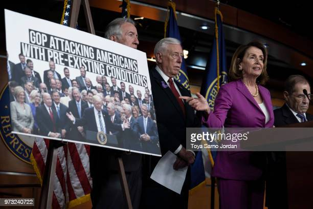 House Minority Leader Nancy Pelosi gestures during a news conference held by House Democrats condemning the Trump Administration's targeting of the...