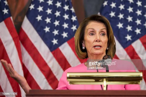 House Minority Leader Nancy Pelosi holds a news conference following the 2018 midterm elections at the Capitol Building on November 7 2018 in...