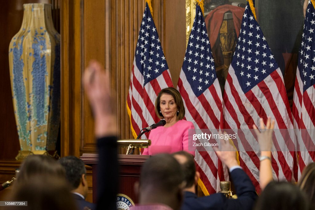 Democratic House Minority Leader Nancy Pelosi (D-CA) Holds News Conference Day After Midterm Elections : News Photo
