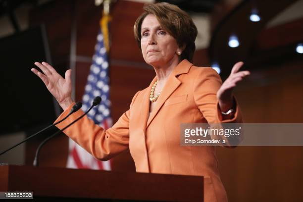 House Minority Leader Nancy Pelosi holds her weekly news conference in the Capitol Visitors Center at the US Capitol December 13 2012 in Washington...
