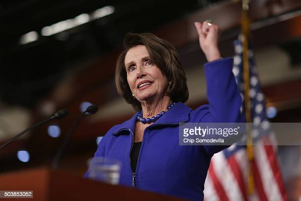 House Minority Leader Nancy Pelosi holds her weekly news conference at the US Capitol January 7 2016 in Washington DC Pelosi fielded questions about...