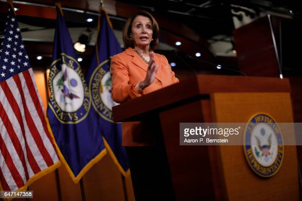 House Minority Leader Nancy Pelosi holds her weekly press briefing on Capitol Hill March 2 2017 in Washington DC Pelosi called for the resignation of...