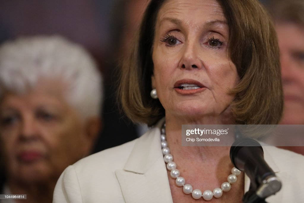Democratic Leader Nancy Pelosi And House Democrats Hold Event In Support Of Kavanaugh Accuser Dr. Christine Blasey Ford : News Photo