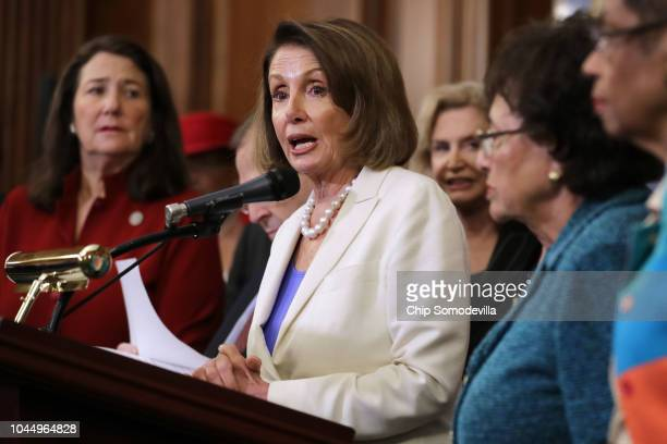 House Minority Leader Nancy Pelosi is joined by Democratic members of the House of Representatives to rally support for Dr Christine Blasey Ford in...