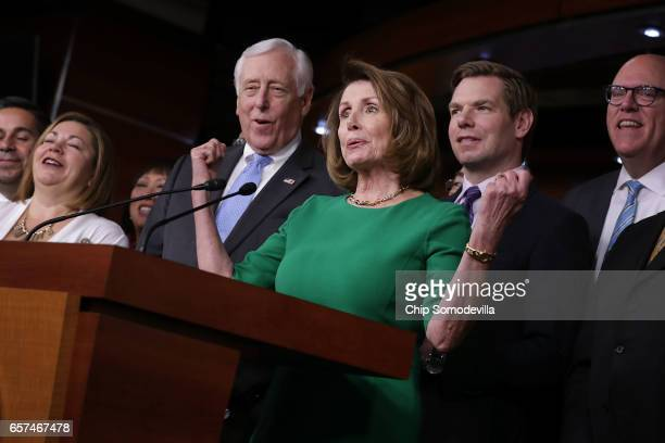 House Minority Leader Nancy Pelosi is joined by Rep Linda Sanchez House Minority Whip Steny Hoyer Rep Eric Swalwell and Rep Joe Crowley for a news...