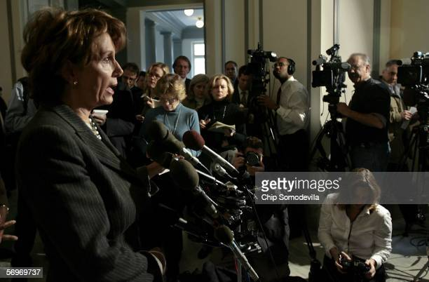 House Minority Leader Nancy Pelosi joined other House Democratic Caucus leaders for a press conference in the Cannon House Office Building on Capitol...