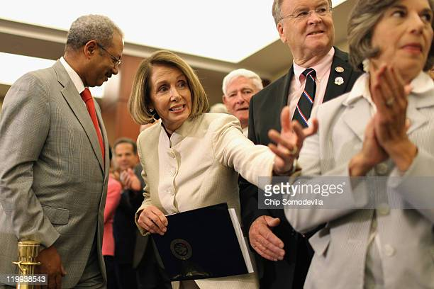 House Minority Leader Nancy Pelosi leads a rally and news conference to mark the 46th anniversary of the passage of Medicare with US Rep Chaka Fattah...