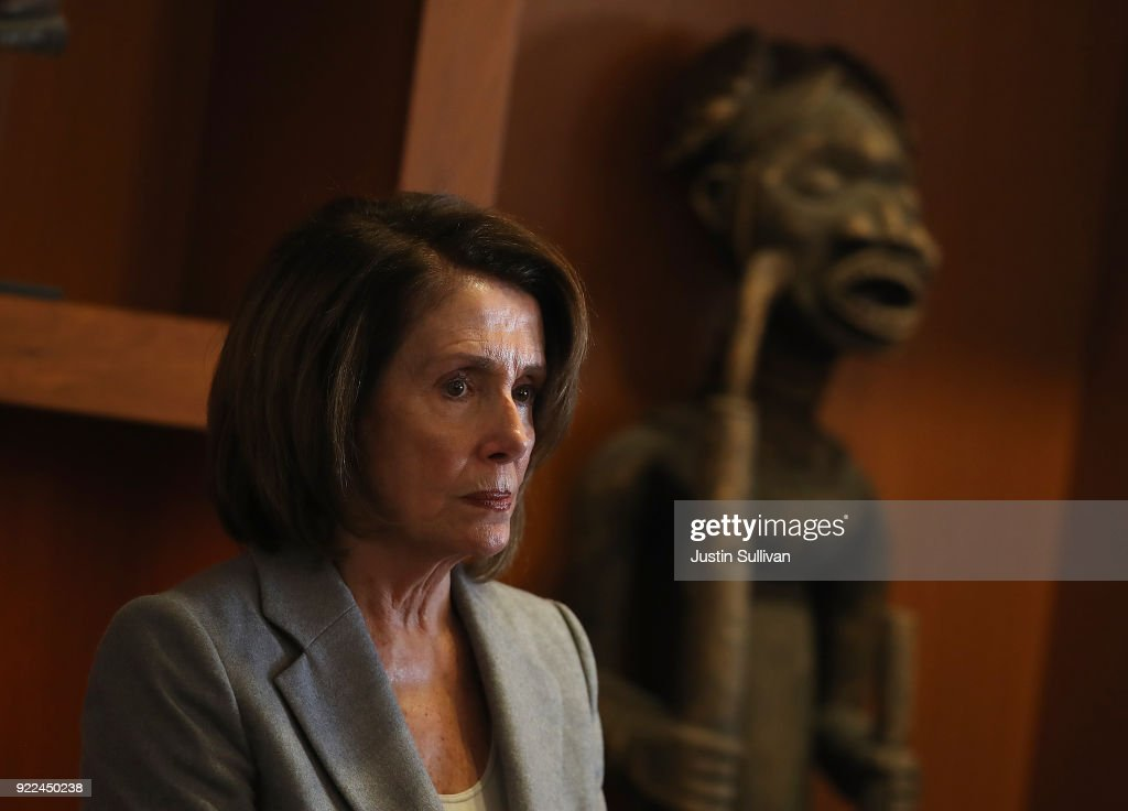 House Minority Leader Nancy Pelosi looks on during a press conference at the Dr. George W. Davis Senior Center on February 21, 2018 in San Francisco, California. House Minority Leader Nancy Pelosi discussed the consequences of the Tax Cuts and Jobs Act on working families and senior citizens after touring the Dr. George W. Davis Senior Center.