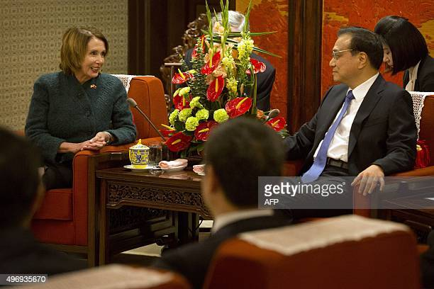 US House Minority Leader Nancy Pelosi of California speaks with Chinese Premier Li Keqiang during a bilateral meeting at the Zhongnanhai leadership...