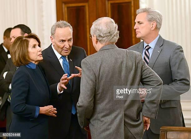 House Minority Leader Nancy Pelosi , Senate Minority Leader Chuck Schumer , Senate Minority Leader Mitch McConnell and House Majority Leader Kevin...