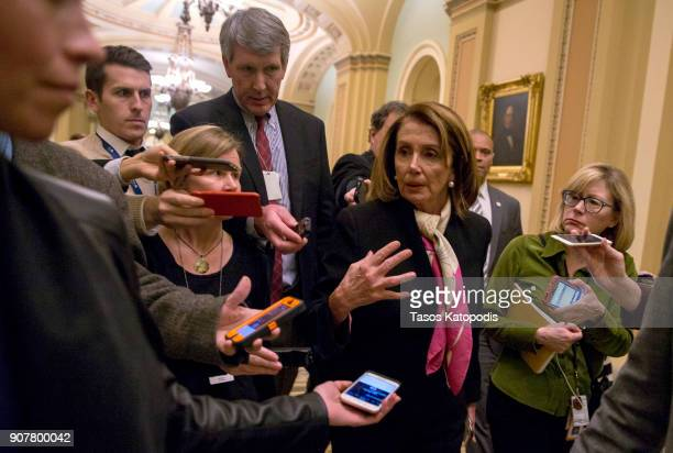House Minority Leader Nancy Pelosi speak to the media on Capitol Hill on January 20 2018 in Washington DC The US government is shut down after the...