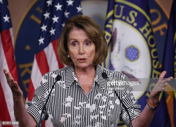 House Minority Leader Nancy Pelosi speaks about House matters during her weekly news conference on Capitol Hill July 27 2017 in Washington DC...