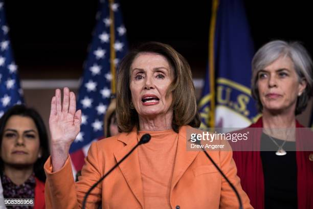 House Minority Leader Nancy Pelosi speaks about the government shutdown during a press conference on Capitol Hill January 21 2018 in Washington DC...