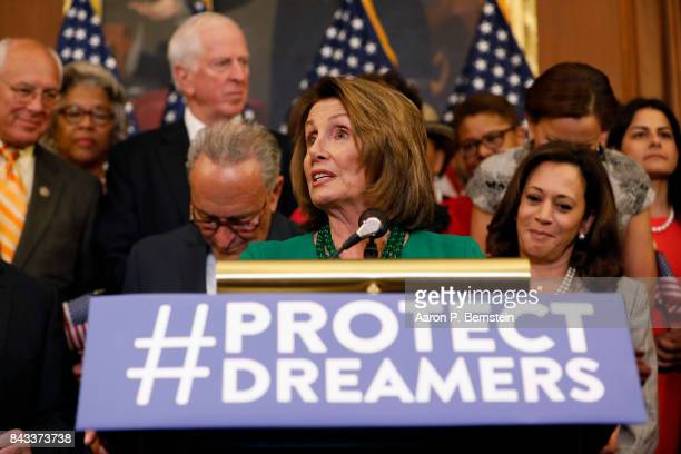 House Minority Leader Nancy Pelosi speaks at a news conference about President Donald Trump's decision to end the Deferred Action for Childhood...