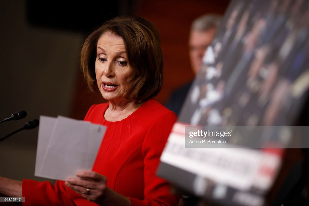 House Minority Leader Nancy Pelosi speaks at a press conference on Capitol Hill on February 14, 2018 in Washington, DC. Pelosi and her fellow Democrats addressed the need for heightened security surrounding the nation's voting systems ahead of the 2018 midterms.