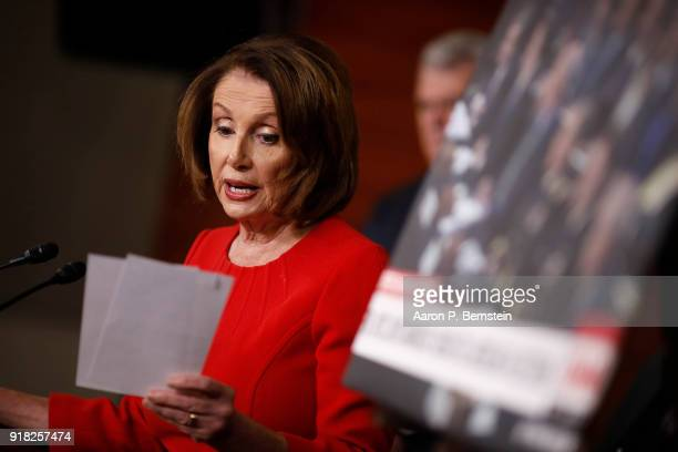 House Minority Leader Nancy Pelosi speaks at a press conference on Capitol Hill on February 14 2018 in Washington DC Pelosi and her fellow Democrats...