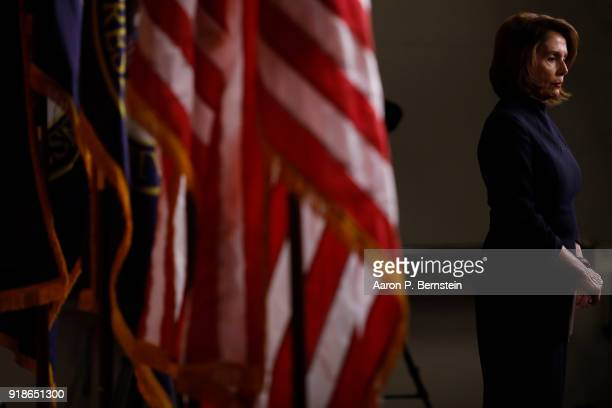 House Minority Leader Nancy Pelosi speaks at her weekly press conference on Capitol Hill on February 15 2018 in Washington DC Pelsoi called on...