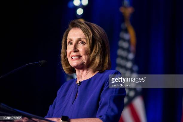House Minority Leader Nancy Pelosi speaks during a DCCC election watch party at the Hyatt Regency on November 6 2018 in Washington DC Today millions...