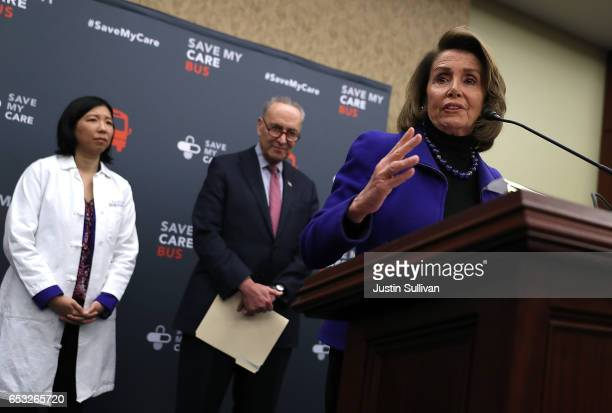 House Minority Leader Nancy Pelosi speaks during a news conference as Senate Minority Leader Charles Schumer and Dr Alice Chen look on at the US...