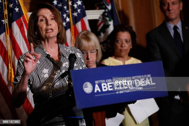House Minority Leader Nancy Pelosi speaks during a news conference at the US Capitol June 28 2018 in Washington DC Congressional Democrats are hoping...
