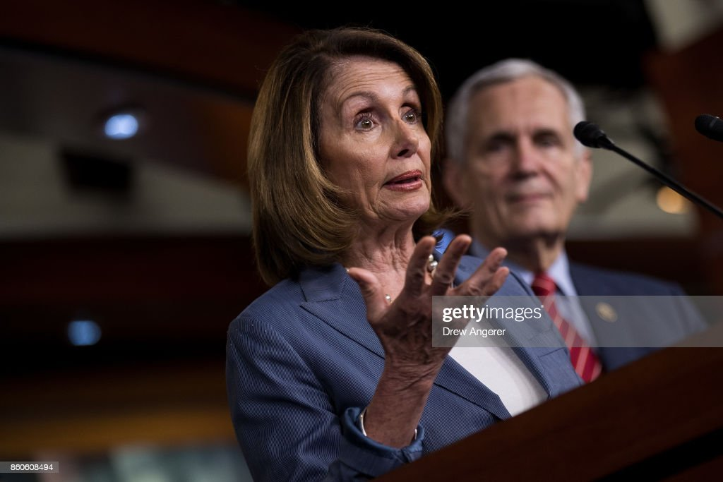 House Minority Leader Nancy Pelosi (D-CA) speaks during a news conference on Republican plans to end the state and local tax deduction, on Capitol Hill, October 12, 2017 in Washington, DC. The Democrats called on Congressional Republicans to hold open and public hearings on their plans for tax reform.