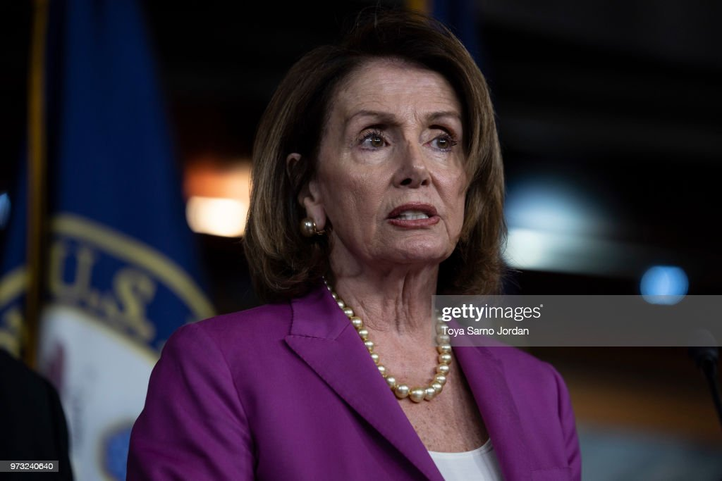 House Minority Leader Nancy Pelosi, (D-CA) speaks during a news conference held by House Democrats condemning the Trump Administration's targeting of the Affordable Care Act's pre-existing condition, in the US Capitol on June 13, 2018 in Washington, DC.