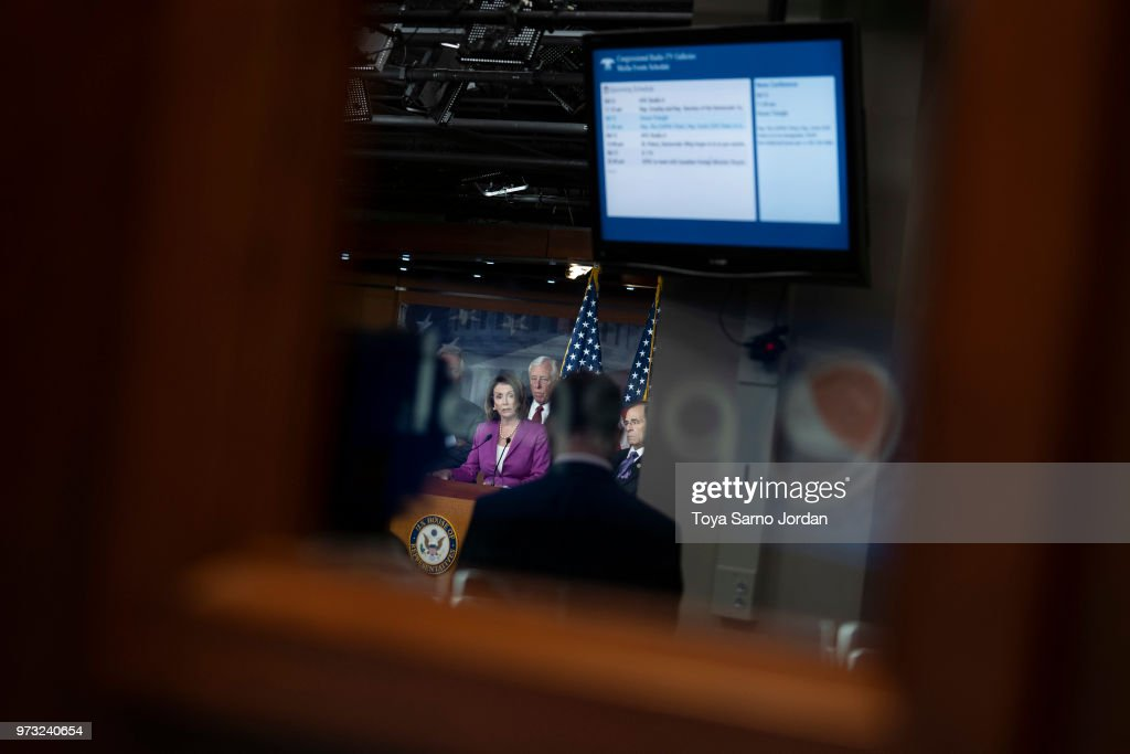House Minority Leader Nancy Pelosi (D-CA), speaks during a news conference held by House Democrats condemning the Trump Administration's targeting of the Affordable Care Act's pre-existing condition, in the US Capitol on June 13, 2018 in Washington, DC.