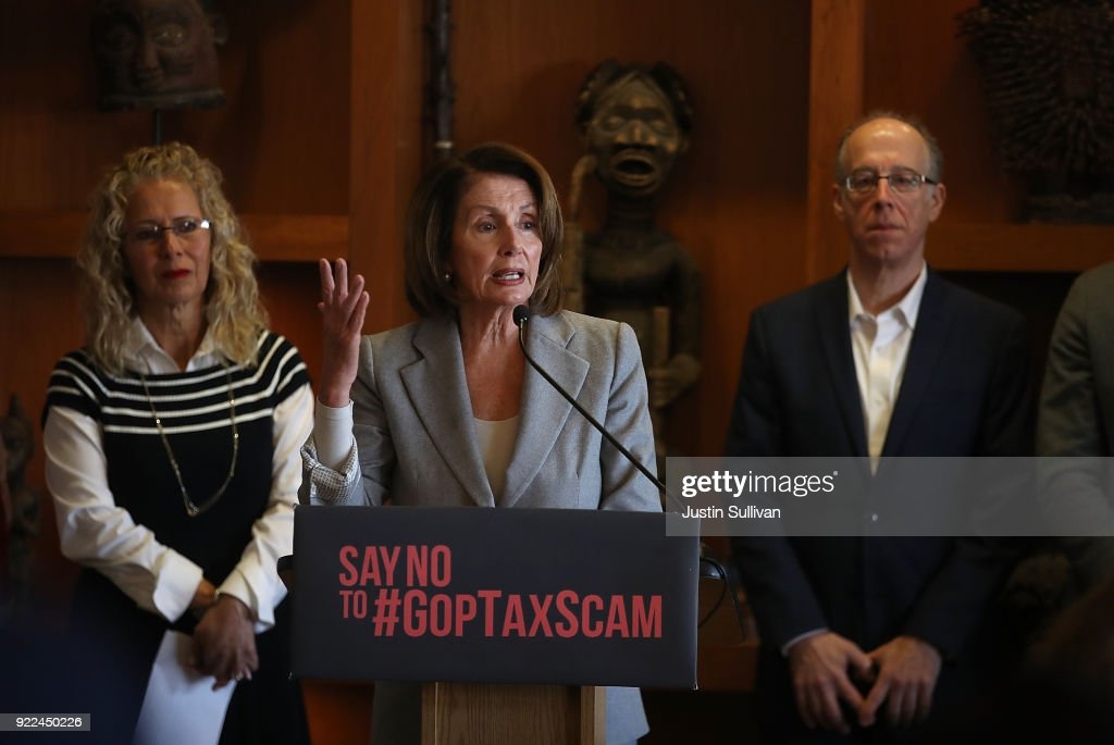 House Minority Leader Nancy Pelosi (D-CA) Discusses The Consequences Of The Tax Cuts And Jobs Act : News Photo