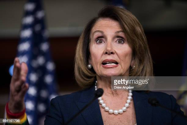 House Minority Leader Nancy Pelosi speaks during her weekly news conference on Capitol Hill June 9 2017 in Washington DC Pelosi fielded questions...